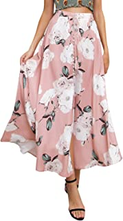 BerryGo Women's Boho Button Front Floral Print Beach Long Maxi Skirt