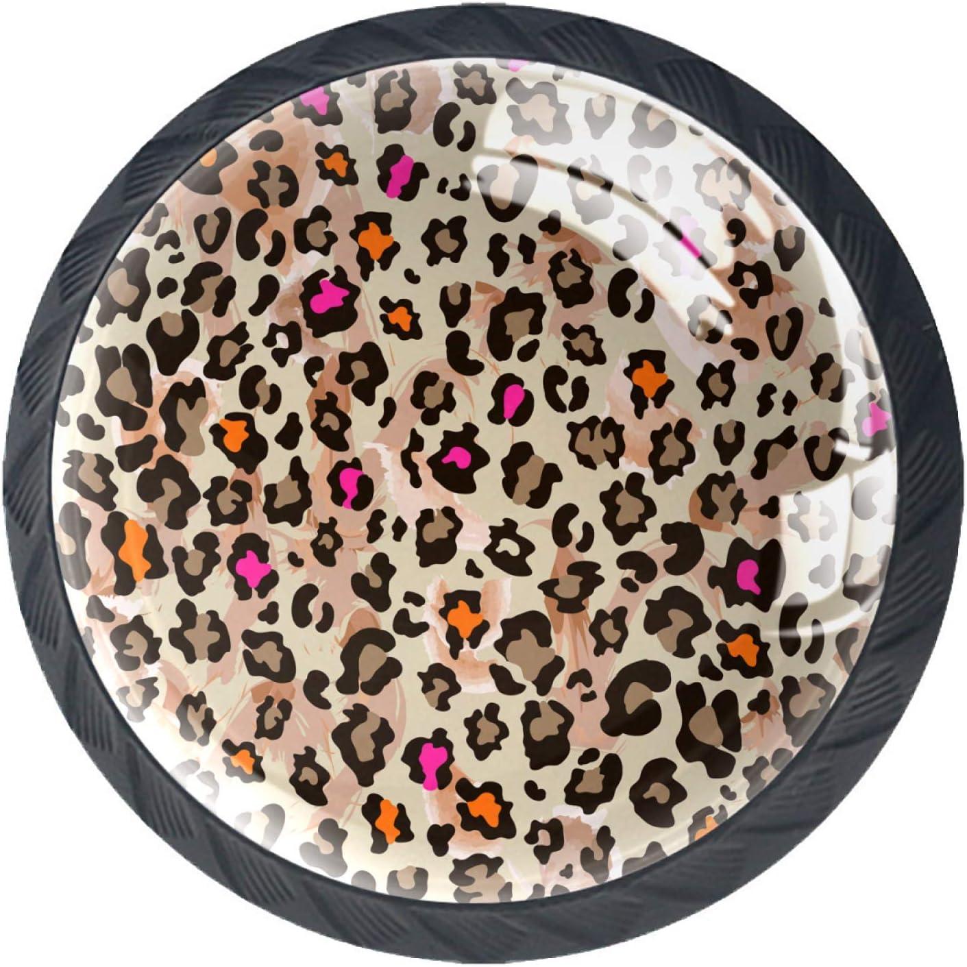 Cabinet Knobs Leopard Print Drawer Knobs Modern Pull Handles 4-P
