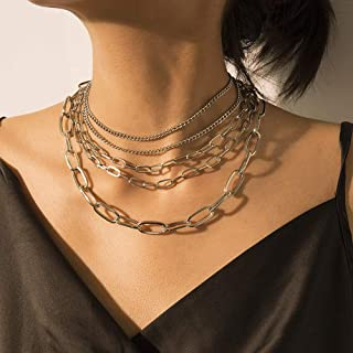 Denifery Punk Cuban Link Chain Choker Necklace Chunky Curb Chain Necklace Chic Layered Clavicle Necklace Hiphop Accessorie...