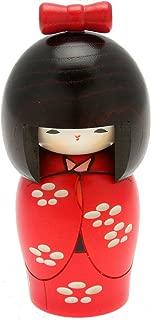 Usaburo Japanese Kokeshi Doll, Yuki's Red Kimono