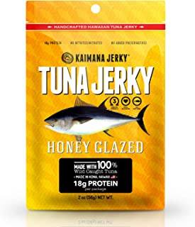 Kaimana Ahi Tuna Jerky Honey Glazed 2 Ounce - Soft and Tasty - Premium Fish Jerky Made in the USA. High in Omega 3's, All Natural and Wild Caught