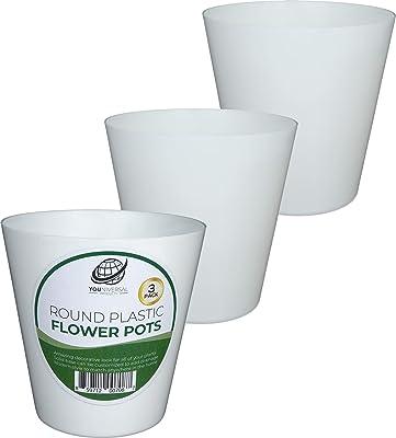 Set of 3 Round White Plastic Flower Pots
