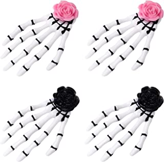 Lurrose 4pcs Gothic Skeleton Hands Bone Hair Clips Hairpins Punk Rock Devil Claw Alligator Barrettes Rose H...