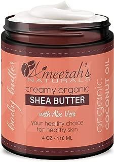 Organic Shea Body Butter & Coconut Oil with Aloe Vera & Vitamin E | Body Moisturizer | Body Lotion - Unscented 4 oz