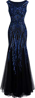 Women's Pattern Sequin Bateau Cap Sleeve Flapper Mermaid Evening Dress