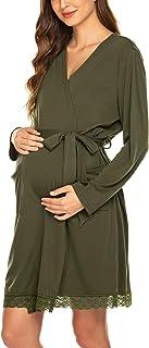 Ekouaer Women's Robe Maternity Sleepwear Pregnancy Nightgown Nursing Soft Kimono Bathrobes