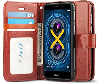 J&D Case Compatible for Huawei Honor 6X Case, [Wallet Stand] [Slim Fit] Heavy Duty Protective Shock Resistant Flip Cover Wallet Case for Huawei Honor 6X Wallet Case - Brown