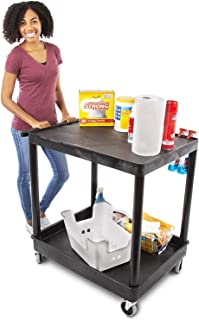 Original Tubstr – Flat Top Utility Cart/Service Cart – Large, 32 x 24 Inches – Heavy Duty, Supports up to 400 lbs - Lipped Top Shelf and Deep Tub Bottom Shelf– Great for Warehouse, Cleaning and More