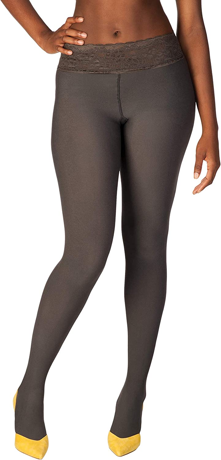 Hipstik Women's Opaque Tights   Comfortable, Lace Top   Lowrise Sits On Hip