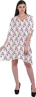 RADANYA Floral Women Casual Kaftan Loose 3/4 Sleeve Cotton Dress Caftan