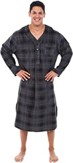 Men's Warm Fleece Sleep Shirt, Long Henley Nightshirt Pajamas