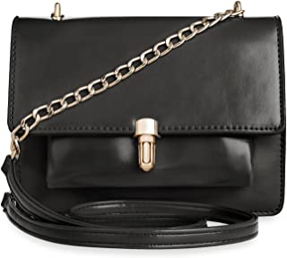 wunderschöne Schultertasche Damentasche mit Kettenriemen und Klappe schwarz
