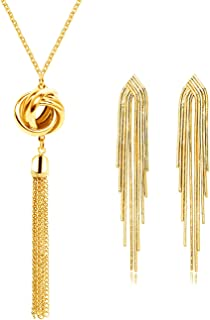 YNACHUN Long Knot Tassel Necklace for Women Gold Tassel Dangle Earring for Girls