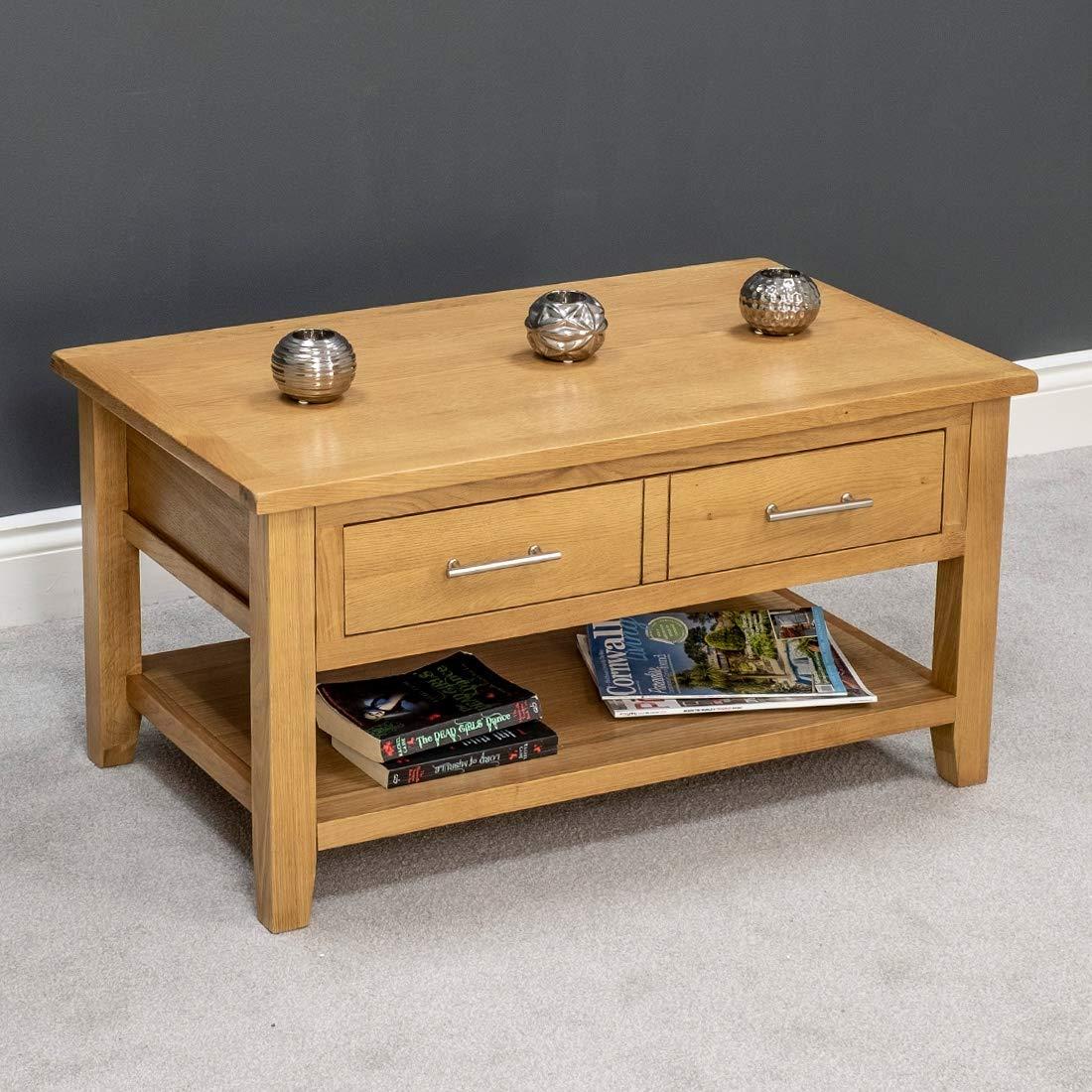 Ayfee Nebraska Modern Oak 1 Drawer Coffee Table Storage With Shelf