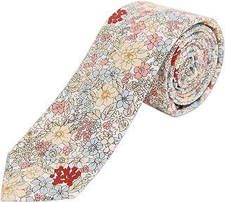 Men's Cotton Floral Skinny Necktie Tie with Gift Box