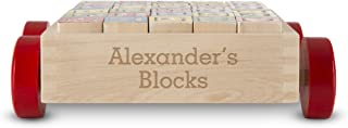 Melissa & Doug Personalized Classic Abc Wooden Block Cart Educational Toy with 30 Solid Wood Blocks