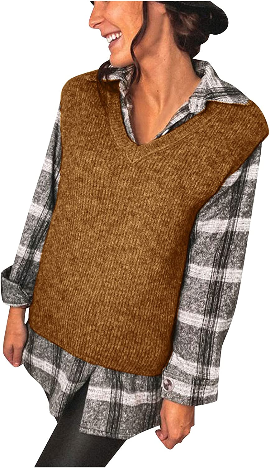 Women's V-Neck Knitted Sweater Vest Cool Weather London-Style Loose Jumper Pullovers Top