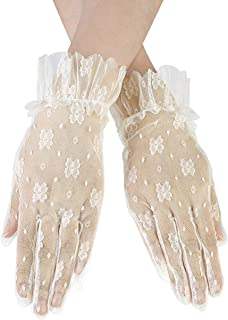 CHIC DIARY Short Lace Gloves for Women Wrist Length Floral Bridal Gloves for Wedding Prom Party