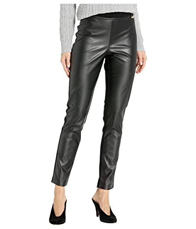Calvin Klein Faux Leather Front Compression Leggings (Black) Women