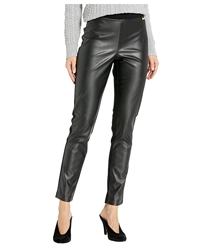 Calvin Klein  Faux Leather Front Compression Leggings (Black) Womens Casual Pants