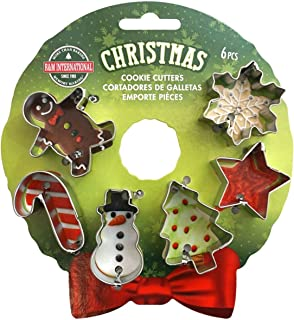R&M International Christmass Mini 6 Pieces Set on The Wreath Card Cookie Cutters, Normal, Stainless Steel