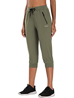 MOCOLY Women's Hiking Cargo Pants Quick Dry Stretch Lightweight Outdoor Water Resistant UPF 50 Fishing Camping Capri Pants