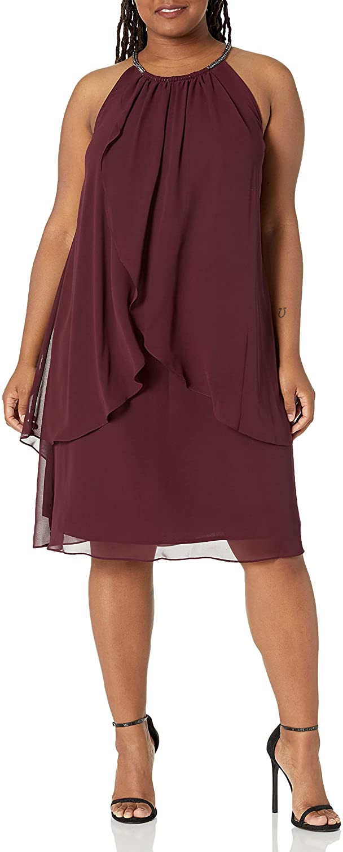 S.L. Fashions Women's Plus-Size Embellished Halter Neck Tier Dress