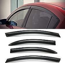MGPRO 4pcs Dark Smoke w/ 3M Outside Mount Style Sun Rain Guard Vent Shade Window Visors For 04-09 Mazda 3 4-Door Sedan Only
