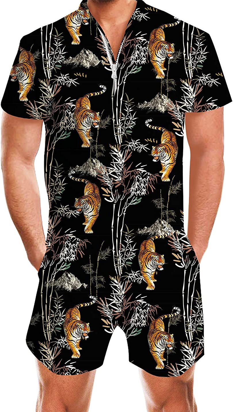 AIDEAONE Mens Casual 3D Nashville-Davidson Mall Printed Zip Short Sleeve Jumpsui Rompers Challenge the lowest price