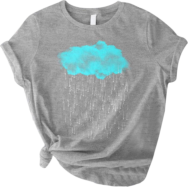 FABIURT T Shirts for Women Teen Girls Cute Cloud Printed Short Sleeve Shirt Casual Loose Tees Blouses Summer Tunic Tops