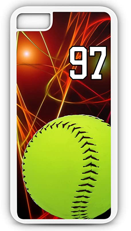 iPhone 7 Phone Case Softball S041Z by TYD Designs in White Plastic Choose Your Own Or Player Jersey Number 97 bhackiui201773