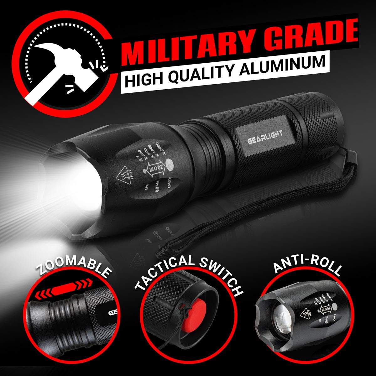 GearLight LED Tactical Flashlight S1000 [2 Pack] - High Lumen, Zoomable, 5 Modes, Water Resistant Light - Camping Accessories, Outdoor Gear, Emergency Flashlights