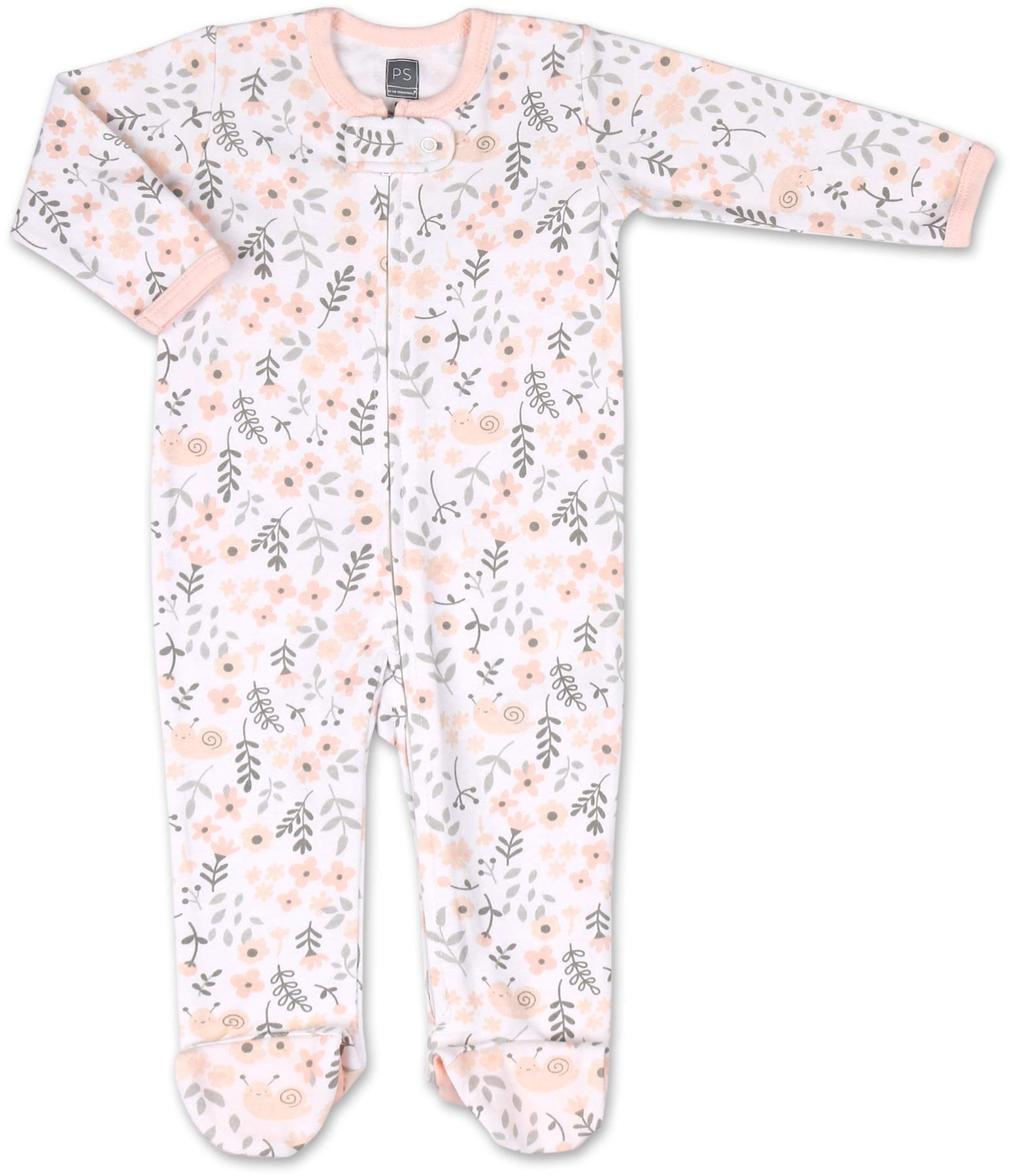 The Peanutshell Baby Sleeper Set for Baby Girls | 3 Pack in Pink Floral, Blush, & Stars | Newborn to 9M Footed Girl Pajamas