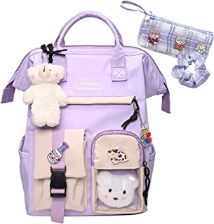 Kawaii Backpack with Cute Accessories Kawaii Pin Large Capacity Girl School Bag Rucksack Multi-Pocket Hanging Bear