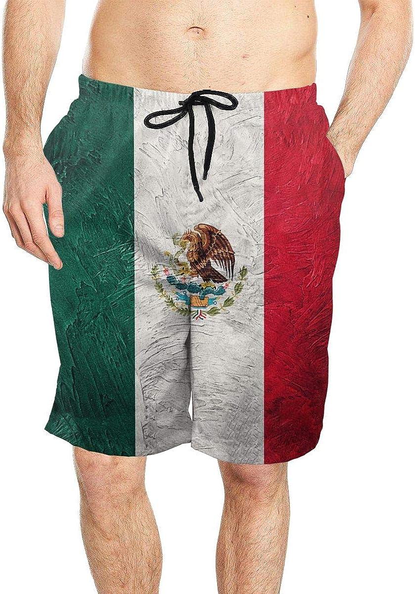 DASMUS Grunge Mexico Flag Mens Drawstring Beach Board Shorts Swim Trunks with Mesh Lining