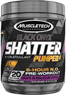 Pre Workout Powder | MuscleTech Shatter Pumped 8 Non-Stimulant Pre-Workout | PreWorkout for Men & Women | 8 Hour Nitric Ox...