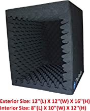 TroyStudio Portable Sound Recording Vocal Booth Box - |Reflection Filter & Microphone Isolation Shied| - |Large, Foldable, Stand Mountable, Super Dense Sound Absorbing Foam| (Small Size)