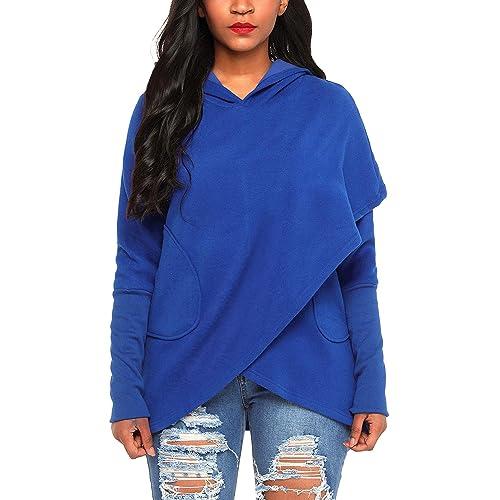 6f7f458a FIYOTE Women Long Sleeve Hooded Asymmetric Hem Wrap Hoodie Sweatshirt  Outwear Tops Blouse S-XXL