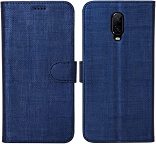 Oneplus 6T Case Cover Flip,TPU&PU Leather Case with Kickstand, Multi-Function Magnetic Suction Strong Closure Wallet Phone Case Cover for Oneplus 6T (Blue)