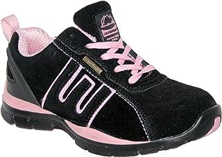 Ladies Ligero Piel, Puntera de Acero Cordones Zapatillas de Seguridad.