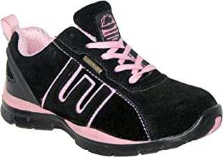 Ladies Ligero Piel, Puntera de Acero Cordones Zapatillas de