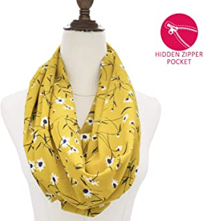 Scarf with Hidden Pocket for Women, Girls, Ladies, Travel Scarf Lightweight Wrap Infinity Scarves Striped with Zipper Pocket
