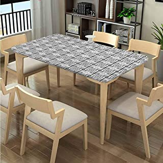 LQQBSTORAGE Elastic Edge Polyester Tablecloths, Overlapping Squares Pattern Printing, Elastic on The Corner Rectangular Tablecloth Fits Rectangular Tables:48