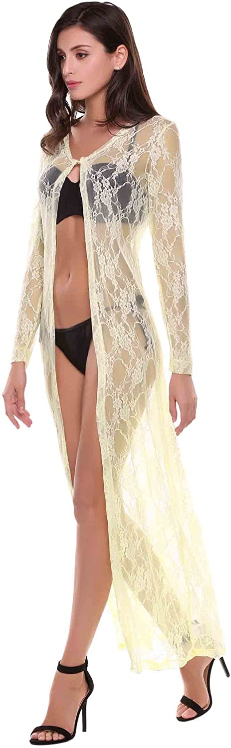 Hotouch Women's Lace Open Front Long Sleeve Sexy Cover Ups Crochet Sheer Maxi Cardigan