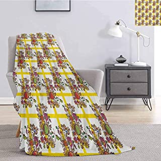 Modern Soft Throw Blanket for Bed Couch Seamless Pattern with Autumn Flowers Buds and Fruits in Kitchen Themed Artwork Image Lightweight Life Comfort Blanket W51 x L60 Inch Multicolor