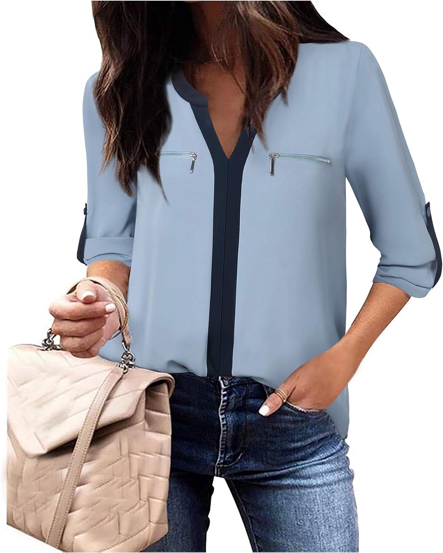Gaharu Women's Casual 3 Sales results No. 1 4 Popular standard Sleeve V Blou Tops Chiffon Shirts Neck