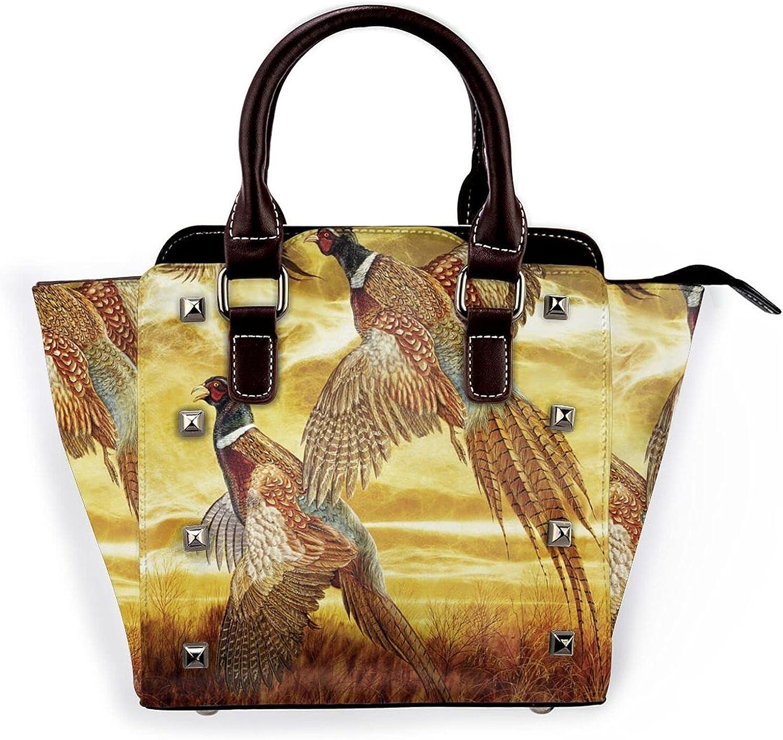 100% quality warranty Small Pheasant Flying Leather Rivet Shoulder New arrival Purse Handbag M Bag