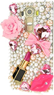 STENES Alcatel One Touch Fierce XL Case - STYLISH - 100+ Bling Crystal - 3D Handmade Big Rose Flowers Sexy Lips Lipstick Design Protective Case For Alcatel One Touch Fierce XL - Pink
