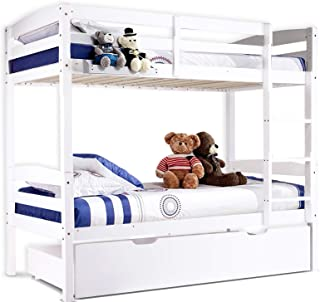 New Bunk Beds Single Frame Solid Pine Children Wooden Bed Kids Bedroom Furniture