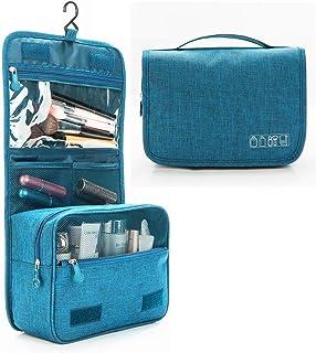 ZEON Travel Cosmetics Toiletries Packing Organiser Bag – Foldable Waterproof Makeup Hanging Storage Case (Blue)